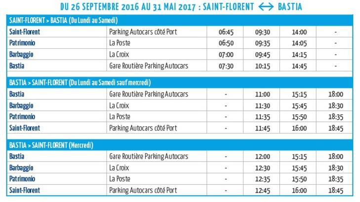Ligne Bastia - Saint Florent : des horaires en plus !