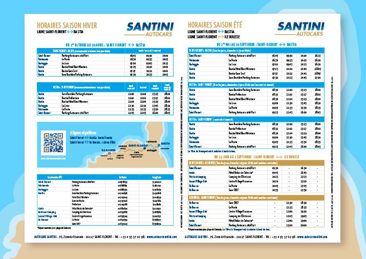 Horaires des lignes : Saint Florent Bastia - Saint Florent Ile Rousse
